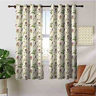 PRUNUSHOME Vintage Composition Blackout Curtains for Bedroom, Window Curtain Tiers for Cafe, Bath, Laundry, Bedroom(Set of 2 Panels,42 by 72 Inch)