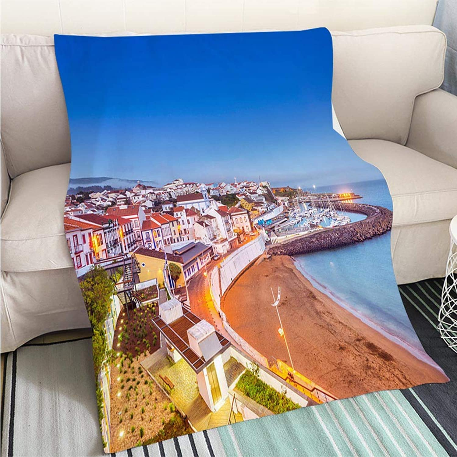 BEICICI Luxury Super Soft Blanket Angra do Heroismo Waterfront at Dusk Terceira Azores Sofa Bed or Bed 3D Printing Cool Quilt