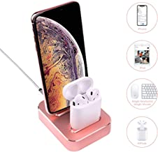 Milletech Dual Charging Stand Compatible with iPhone XS/8/8Plus/7/6S /SE/iPad, Aluminum Alloy Built-in USB Cell Phone Charging Stations, 2-in-1 Charger Station, Mobile Phone Holder (Rose Gold)