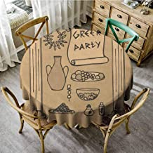 ScottDecor Wrinkle Free Tablecloths Greek Ornamental Ancient Civilization Pillars Pots Wreath and Food Theme Party Design Tan and Beige Polyester Round Tablecloth Diameter 36