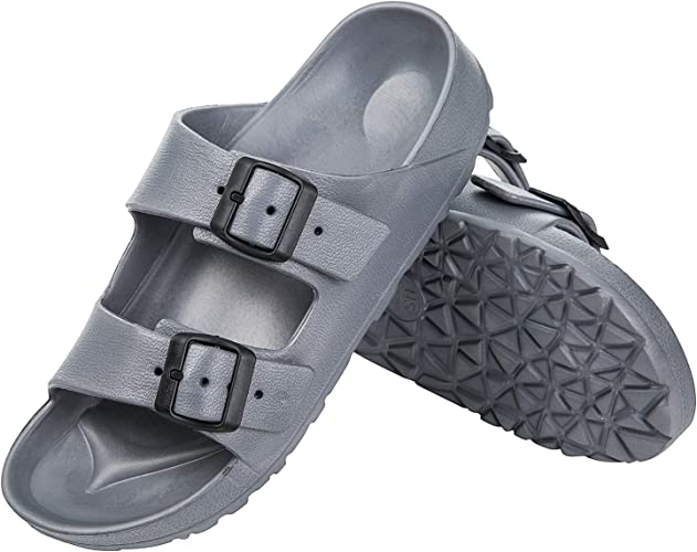 DL Men's-EVA-Slides-Sandals-Adjustable Double Buckle Beach Pool Gym Sandals for Men Waterproof Slip On, Summer Lightweight Open Toe House Slippers Indoor Non-Slip Flat Sandal