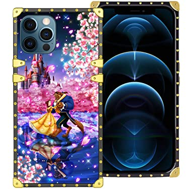 DISNEY COLLECTION Square Case for iPhone 12 Pro Max Classical Belle Beauty and The Beast Cartoon Luxury Square Case Golden Metal Design Precise Cutouts Shockproof Cover for iPhone 12 Pro Max 6.7 Inch