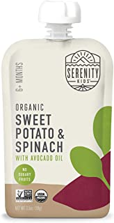 Serenity Kids Baby Food, Organic Sweet Potato and Spinach with Avocado Oil, For 6+ Months, 3.5 Ounce Pouch (12 Count)