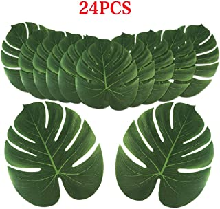 Aytai 24pcs Large Artificial Tropical Palm Leaves, Faux Safari Leaves Monstera Fake Leaves, Hawaiian Luau Party Jungle Beach Theme Decorations for Birthday BBQ Party Safari Table Decorations Supplies