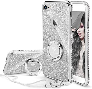 Cute iPhone 8 Case, Cute iPhone 7 Case, Glitter Luxury Bling Diamond Rhinestone Bumper with Ring Grip Kickstand Protective Thin Girly iPhone 8 Case/iPhone 7 Case for Women Girl - Silver