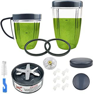 15 Pieces Blender Replacement Parts Extractor Blade And Cups for NutriBullet 600w 900w including Gasket Shock Pad and Gear...