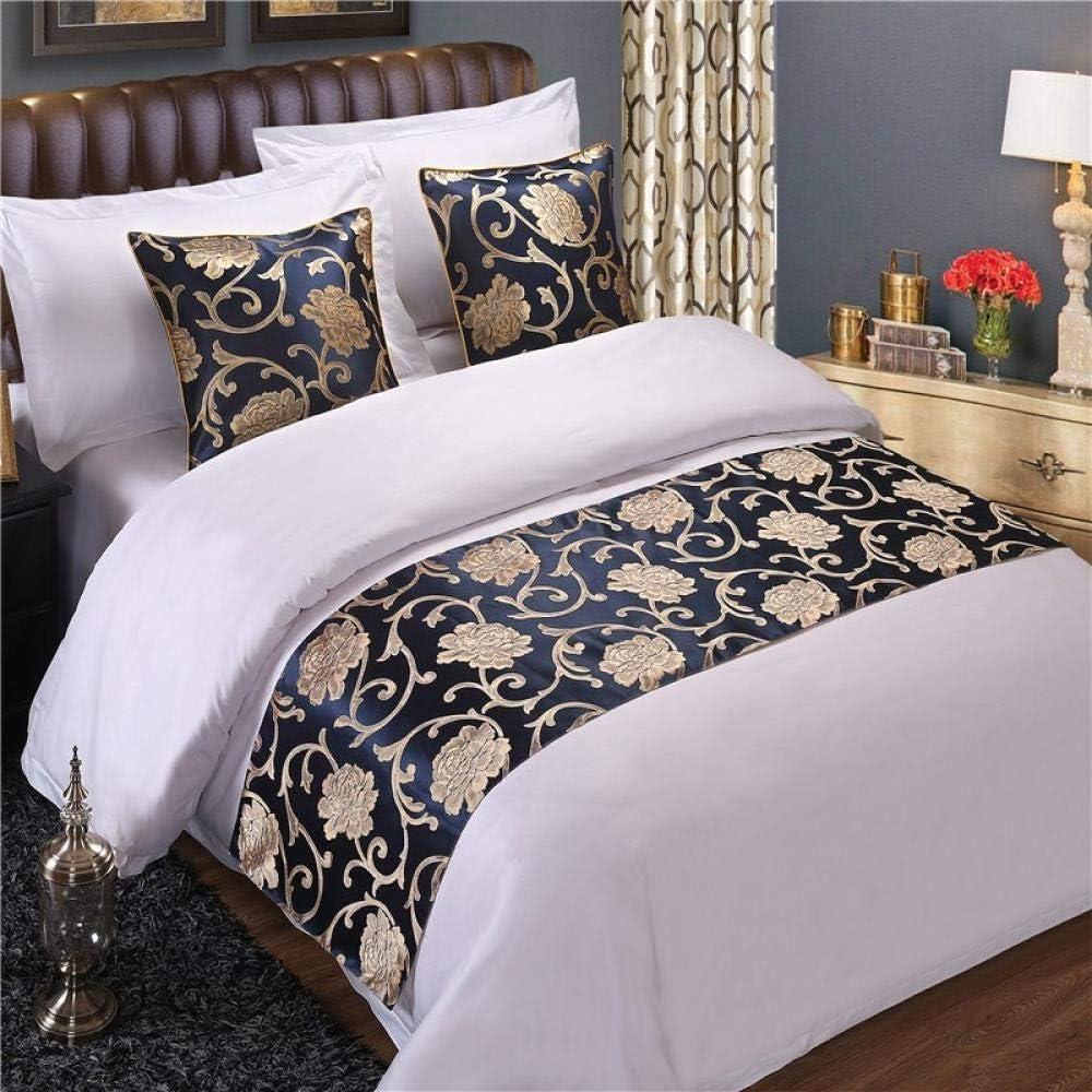 Luxury Bed Runner Vintage Satin Home Hotel Bedroom Decor Towel Flag 20x83inch