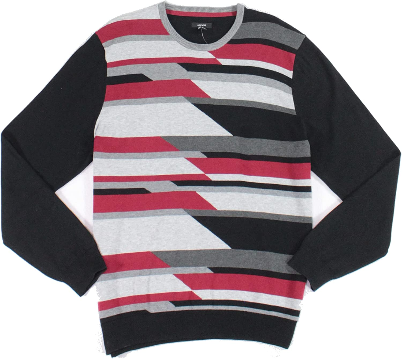 Alfani Mens Sweater Small Pullover Geo-Print Crewneck Black S