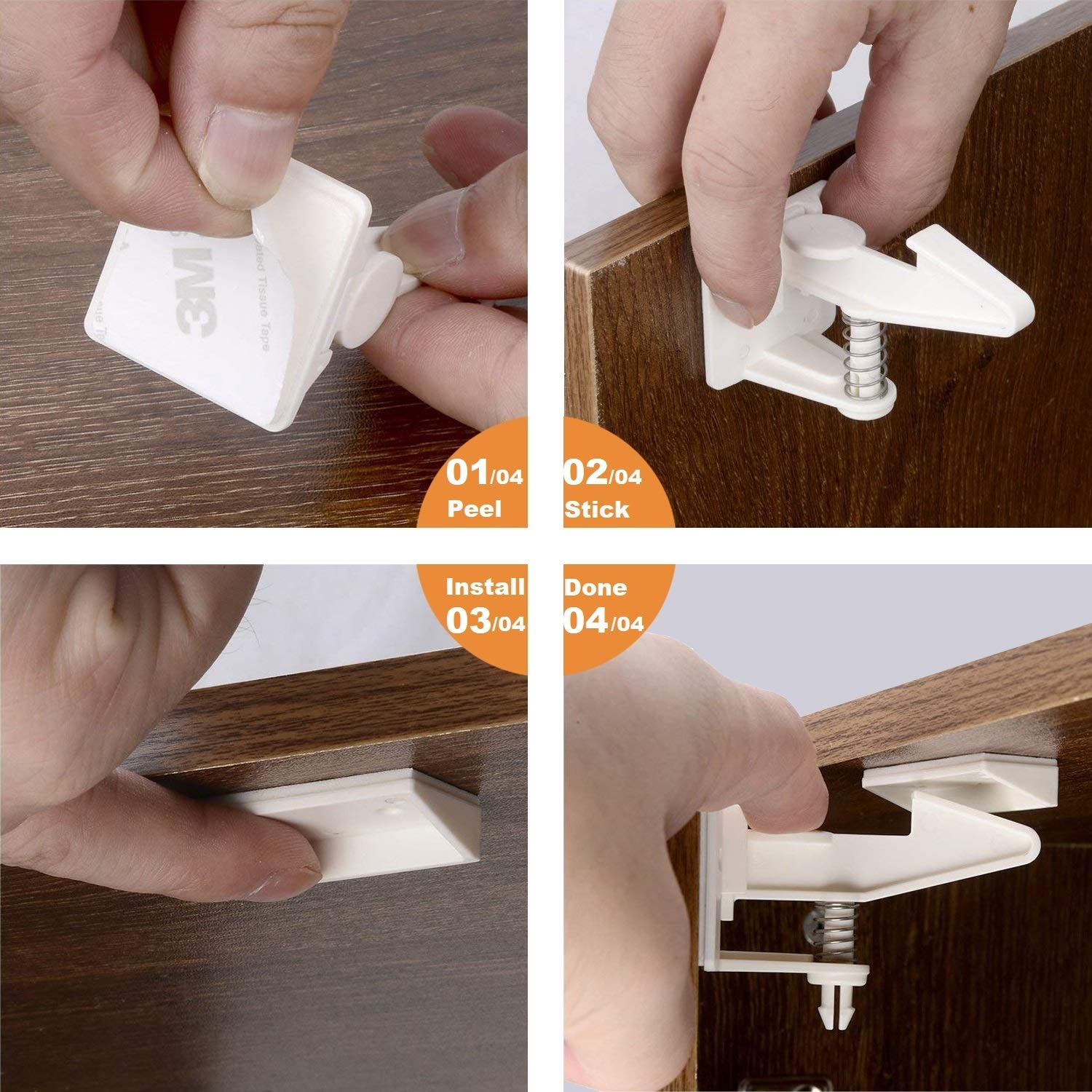 Cabinet Locks Child Safety Latches - OKEFAN 12 Pack Baby Proofing Cabinets Drawer Lock Adhesive Latch for Kids Proof Drawers No Drilling Tools Needed (White)