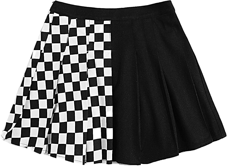 SOLY HUX Women's Plaid High Waist A Line Pleated Casual Mini Skater Skirt