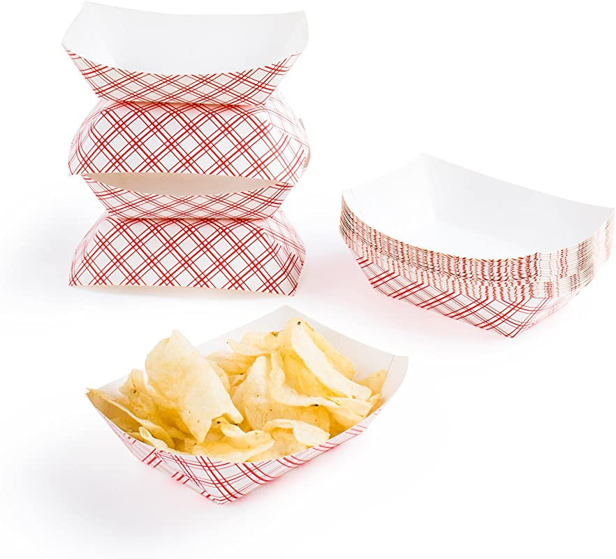 Disposable Paper Food Tray For Carnivals Fairs Festivals And Picnics Holds Nachos Fries Hot Corn Dogs And More 2 5 Pound 50 Pack