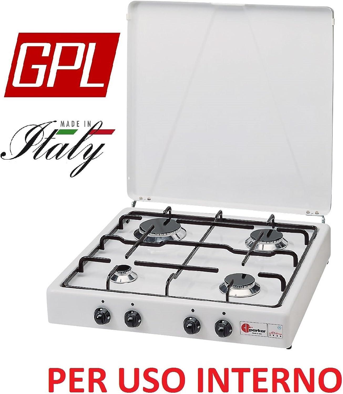 Gaskocher sicherheitsffnungsventil Parker A GAS GPL (Gasflaschen) mit 4flammig Farbe Wei und Schwarz–für Verwendung Innen -