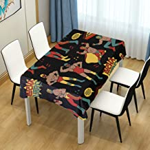 ZOMOY Decor Tablecloth Lucha Libre Seamless Pattern Heroes Mexican Multicolor Rectangular Table Cover for Dining Room Kitchen Outdoor Picnic