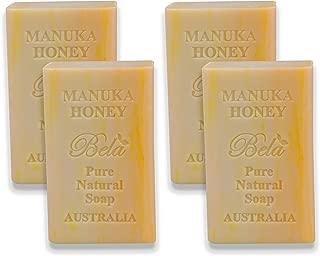 Bela Bath & Beauty, Bela Pure Embossed Soap Bars, Manuka Honey, With Shea Butter and Essential Oils, 6.5 oz Each - Set of 4