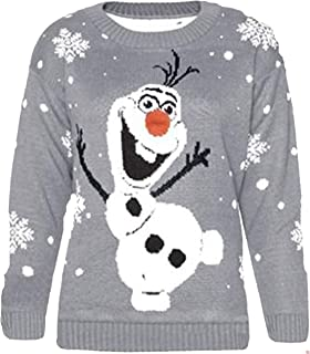 Unisex Christmas Retro Reindeer Snowflake Olaf Frozen Novelty Jumper