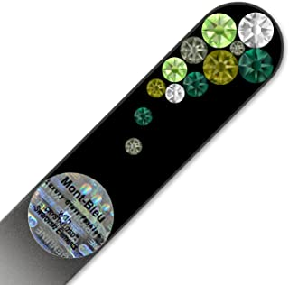 Purse Size Crystal Nail File with Swarovski Elements, Hand Made, Czech Tempered Glass, Lifetime Guaranty, in Suede Sleeve ...