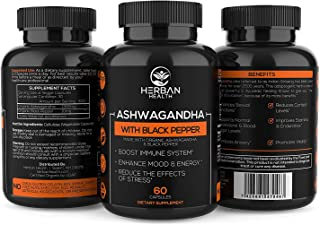 Organic Ashwagandha 1300mg Strength - Black Pepper - Premium Support for Anxiety Relief, Mood & Energy Enhancer, Reduces Cortisol Levels, Promotes Vitality, Combat The Effects of Stress | 60 Veg Caps