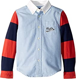 Jersey Sleeve Oxford Shirt (Toddler)