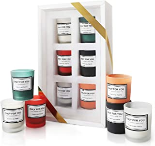 KASOM Made of Natural Soy Wax + Aromatherapy Essential Oil Candle Gift Set 6 PCS x 4.5 oz Thickened Glass Burn Without Bur...