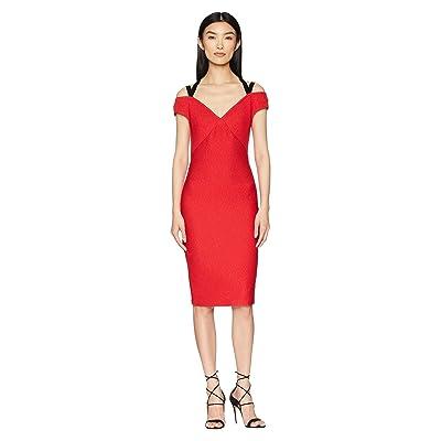 YIGAL AZROUEL Off Shoulder Dress with Velvet Straps (Cardinal Red) Women