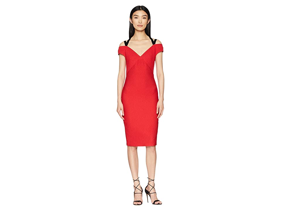 YIGAL AZROUEL Off Shoulder Dress with Velvet Straps (Cardinal Red) Women