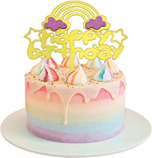 (Rainbow Style) - SGONE Gold Happy Birthday Cape Topper, Gold Monogram Acrylic 1st First Happy Birthday Cake Topper for Baby Shower Kids Adult Birthday Party