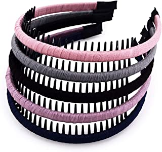 STHUAHE 5Pcs Women/Ladies/Girls Bohemia Style Series Silk and Protection Resin Teeth Comb Hair Hoop Hairband Headband Hair Accessories by Beauty Hair (5 Color)