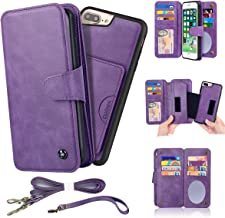 CORNMI iPhone 7 Plus / 8 Plus Wallet Case, Mirror 13 Card Holders Crossbody Wrist Strap Leather Folio Cover Kickstand Zipper Pocket Flip Protective Detachable Purse for Apple 7+ / 8+ 5.5'' Purple