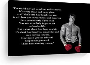 Smile Art Design Rocky Balboa Wall Art Canvas Print Motivational Quote Hope Artwork Boxing Sylvester Stallone Living Room Home Decoration Ready to Hang- Made in The USA - 24x36