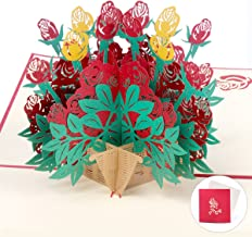 3d Pop Up Rose Flower Birthday Greeting Card Envelop Included