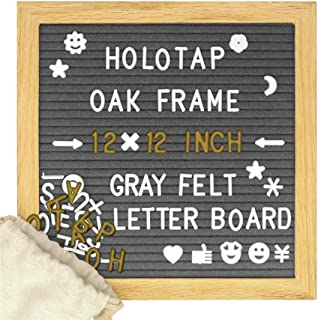 Gray Felt Letter Board 12x12 Inch, Changeable Letter Boards with 340 White & Gold Letters, Punctuation, Drawstring Bag, Stand
