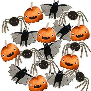 18PCS Assorted Halloween Trick or Treat Kids Party Decoration,Multi-Use Paper Cutouts, Hanging Banners Stickers,Metallic Pumpkins, Bats Spiders, Scary House Wall Window Door Table Centerpieces Idea