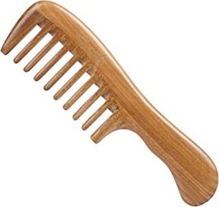 Breezelike Hair Comb for Detangling - Wide Tooth Wood Comb for Curly Hair - No Static Natural Wooden Sandalwood Comb for Women, Men