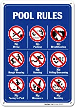 Pool Rules Sign, No Diving No Pushing No Running No Peeing in Pool 10x14 Rust Free Aluminum, Weather/Fade Resistant, Easy Mounting, Indoor/Outdoor Use, Made in USA by SIGO SIGNS
