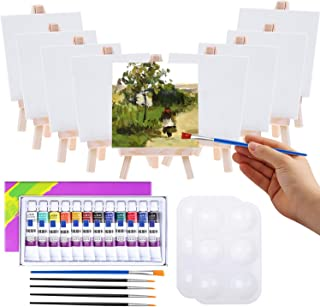 Mini Canvas and Easel, Cridoz 47 Pieces Mini Canvas Painting Set Includes 4x4 Inches Primed Canvas, Mini Easel, Acrylic Pa...