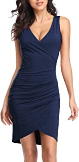 Women's Sleeveless Deep V Neck Wrap Ruched Bodycon Cocktail Party Mini Dress