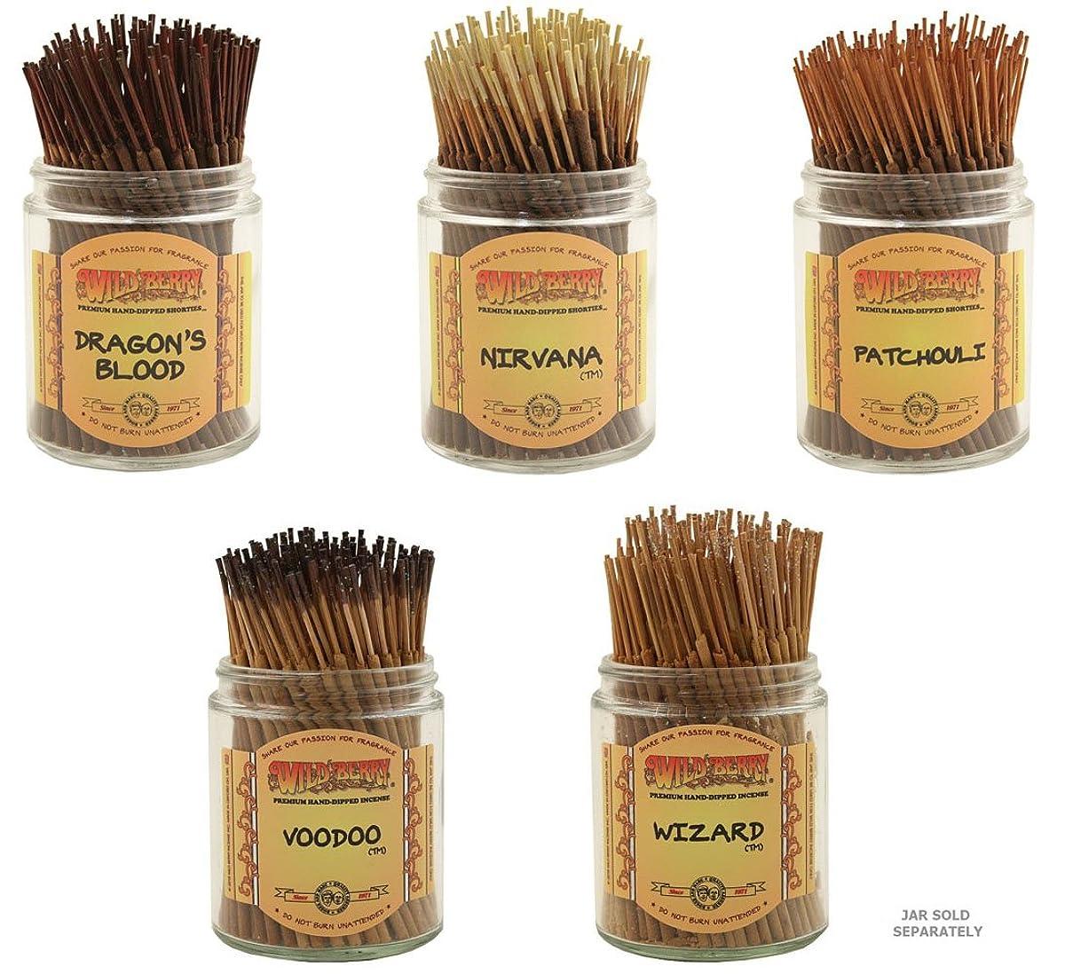 今晩再生可能練るWildberry Short Incense Sticks?–?Set of 5?Best Selling Fragrances?–?Dragon 's Blood、Nirvana、パチュリ、Voodoo、ウィザード(各、100のパック合計500?Sticks )