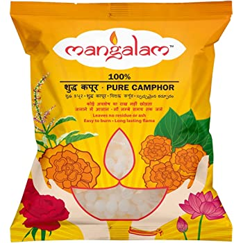 MANGALAM Camphor Small Round Tablet Pouch, 100 gm