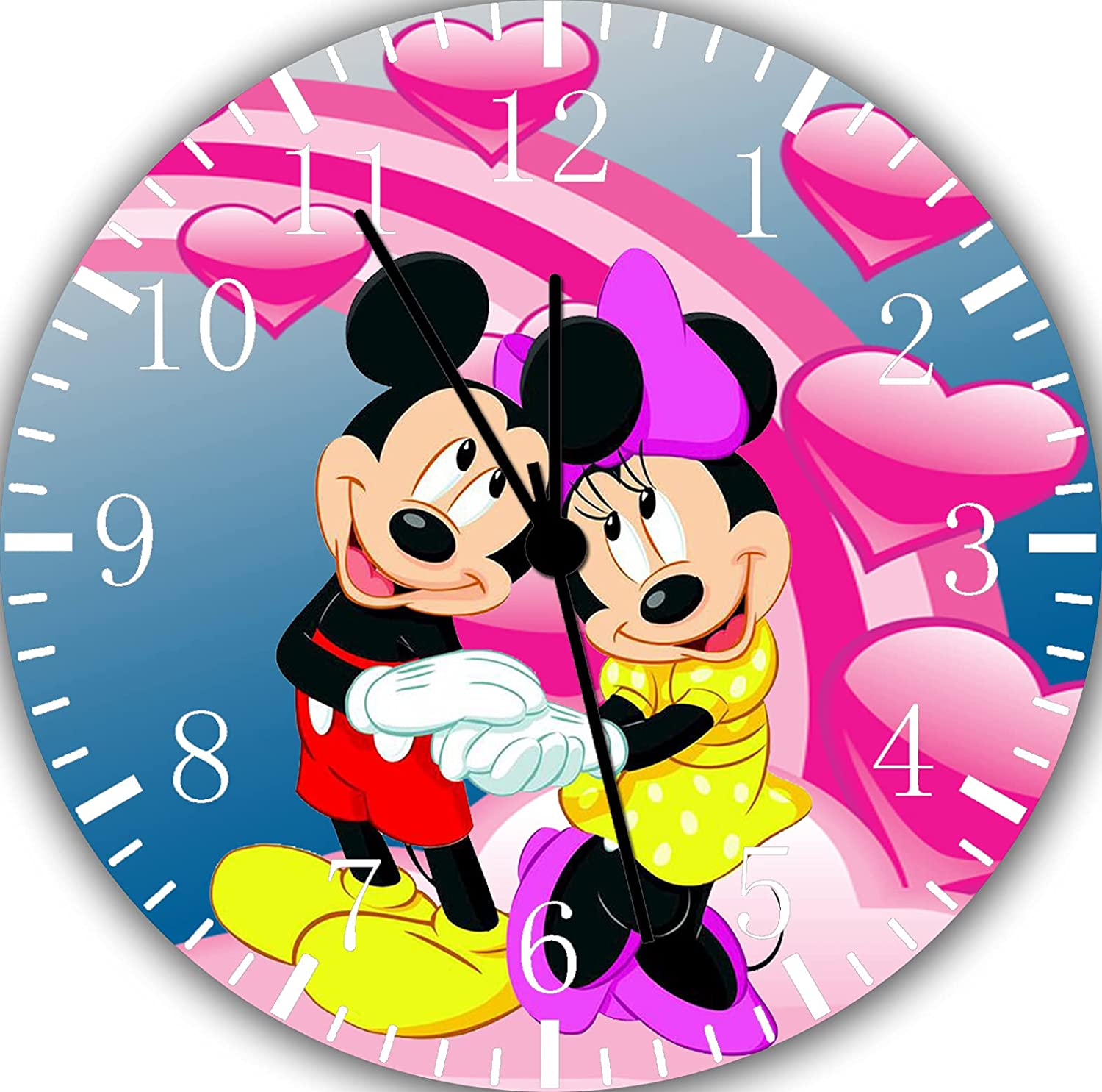 Mickey Mouse Minnie Mouse Wall Clock Silent Non-Ticking Nice for