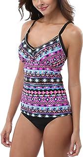 Attraco Women Tribal Print Tankini Top Triangle Bottom 2 Piece Swimwear Swimsuit