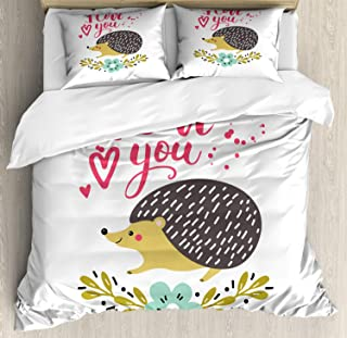 Ambesonne Hedgehog Duvet Cover Set, Ink Splatter Spotted I Love You Words and Floral Wreath with Forget-Me-Not Flower, Decorative 3 Piece Bedding Set with 2 Pillow Shams, Queen Size, Pink Beige