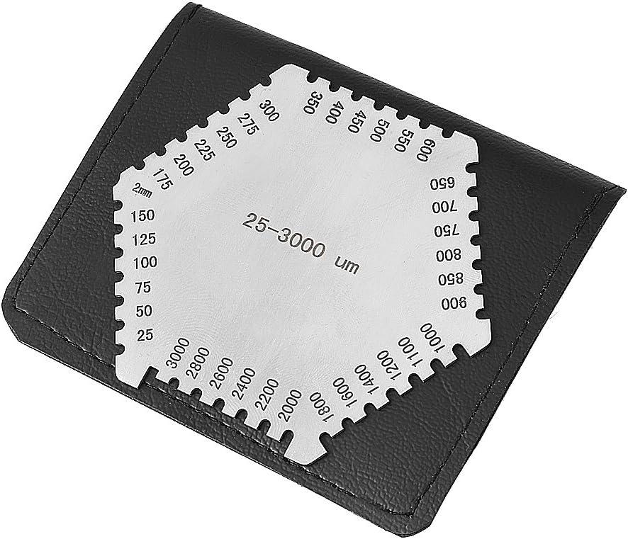 Acero inoxidable (E112) Hexágono Medidor de espesor de película húmeda de alta precisión Gage 25~3000um Peine de película húmeda Escala mil para la medición del espesor de la pintura desaparecida