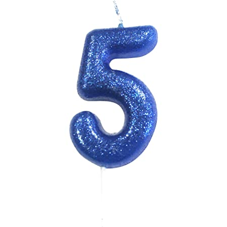 Blue Moulded Birthday Cake Candle Number 5