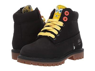 Timberland Kids 6 Premium Boot with Lined Tongue Spongebob (Toddler/Little Kid) (Black Nubuck) Kids Shoes