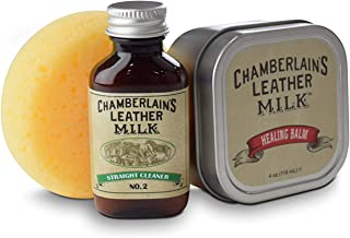 Leather Milk Cleaner & Conditioner Genuine Kit | 4oz Healing Balm Scratch Repair + 1oz Straight Deep Cleaner No. 2 Non Toxic Coconut Oil Based Formula with Premium Applicator