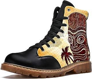 LORVIES Vintage Aloha Tiki Bottes d'hiver Chaussures Montantes en Toile à Lacets pour Hommes