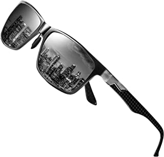 Men's Luxury Carbon Fiber Temple Polarized Sunglasses for...