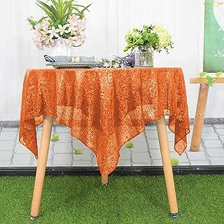Sequin Tablecloth 48x48-Inch-Square-Orange Glitter Table Overlay Coral Glitz Table Linen-190626J