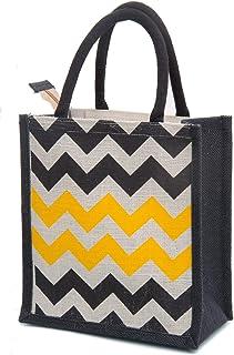 H&B Men's Zigzag Printed Jute Tiffin Bags with Zip (Beige, Medium)