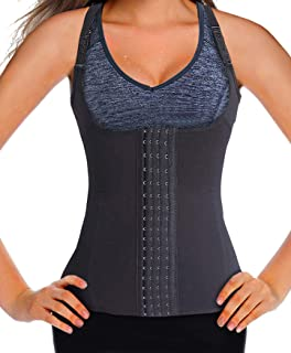 Mlxgoie Womens Waist Trainer Corset Vest Clip Underbust Workout Body Shaper Cincher Weight Loss Tank with Adjustable Strap